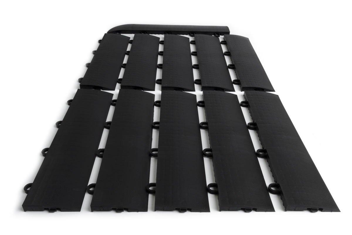 SnapFloors Female Transition Edge Kit, Durable Interlocking Modular Garage Floor Edging (Compatible with All RaceDeck, GarageTrac and GarageDeck Products), Black, 11 Piece
