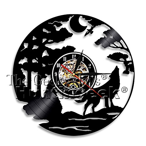 The Geeky Days Howling Wolf Vinyl Record Wall Clock Animal Lover Gift Wolf Moon Wall Clock Modern Antique Art Decorative Hanging Wall Clocks (Without LED) by The Geeky Days