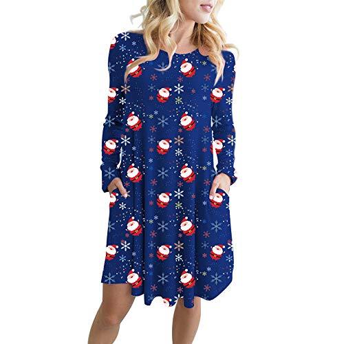 Sunhusing Womens Cartoon Snowman Santa Print Long Sleeve Mini Dress Loose Large Pleated Swing Dress