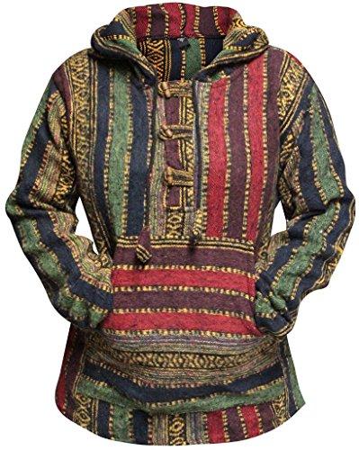 (Shopoholic Fashion Women Multicolored Hippie Pullover Hoodie Boho Baja (L,Maroon))
