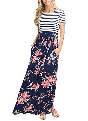 (MEROKEETY Women's Striped Short Sleeve Floral Print Summer High Waist Pockets Maxi Dress )