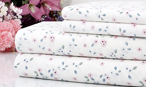 Bibb Home 100% Cotton 4 Piece Printed Flannel Sheets Set - Deep Pocket, Warm, Super Soft, Breathable Bedding (Mini Floral, King)