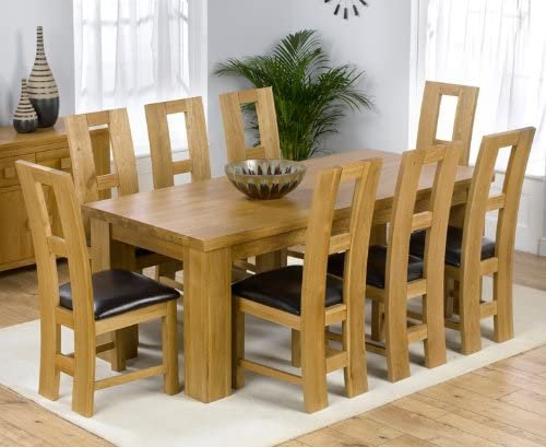 Dorset Roble Macizo Mesa de Comedor Grande y 8 John Louis sillas ...