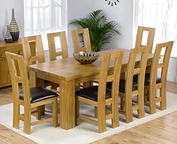 Dorset Roble Macizo Mesa de Comedor Grande y 8 John Louis sillas Set ...