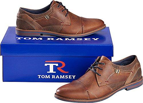 Tom Ramsey Mannen Lace / Mannen Zakelijke Schoenen 100% Leder, Met Uitneembare Zool (maten 40-46, Kleur: Bruin)