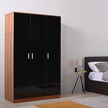 3 Doors - Black with 6 Shelves Units Storeinuk 3 Door Triple Large Wardrobes Black 181 x 51 x 110cm /& 76KG White /& Walnut Bedroom Furniture Robe with Hanging Rail
