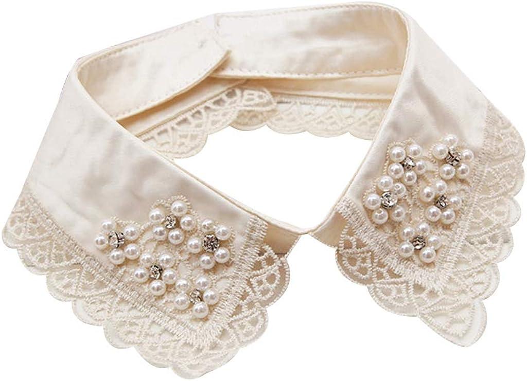 BASSK - Cuello de camisa desmontable para mujer, falso collar con perlas de encaje, decoración de mujer