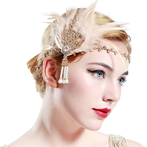 Price comparison product image BABEYOND Art Deco 1920's Flapper Great Gatsby Inspired Leaf Medallion Pearl Headband Black Feather (Gold and Champagne Feather)
