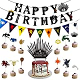Game of Thrones Birthday Banner, Cake and Cupcake Toppers for GOT Birthday Party Supplies Decorations, 1 Pack Happy Birthday Banner, 1 Pack GOT Banner, 1 Pack Cake topper and 24 Pack Cupcake Toppers