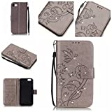 iPhone 7 plus Case, [Wrist Strap] [Stand Feature] PU Leather [beautiful tree] Flip Wallet Case Cover for 5.5 inch iPhone 7 plus with Screen Protector And Stylus Pen (Grey)