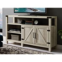 New 58 Inch Wide Barndoor Highboy Television Stand in White Oak Finish