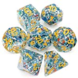 Haxtec Blue Carp DND Dice Set 7PCS Polyhedral D&D Dice for Roleplaying Dice Games as Dungeons and Dragons … (Color: Holiday-blue Carp)