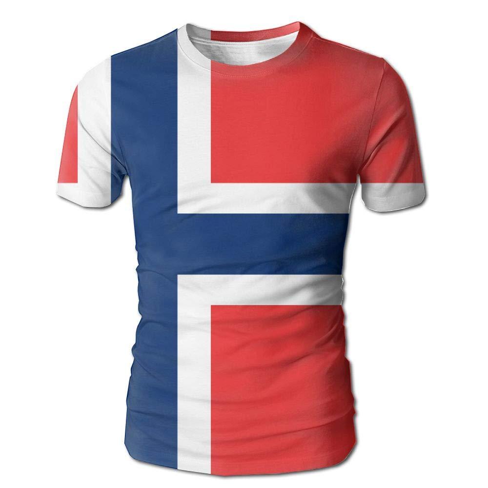 CUTEDWARF Hawaiian Short Sleeve Crewneck Tee 3D Printed Flag Norway T-Shirt