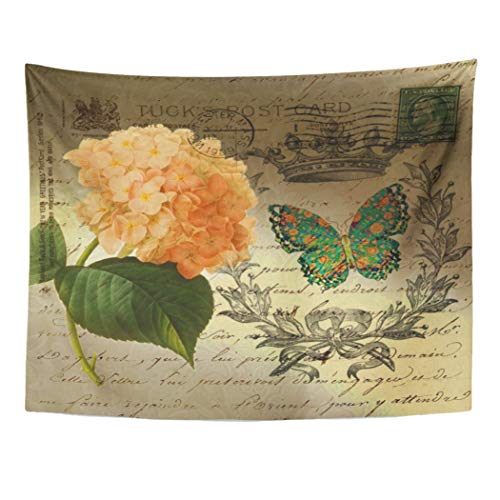 Semtomn Tapestry Wall Hanging Green Provincial Hydrangea Butterfly Crown French Country Nouveau Parisian Polyester Fabric Home Decor Tapestries for Living Room Bedroom Dorm 60x80 Inches