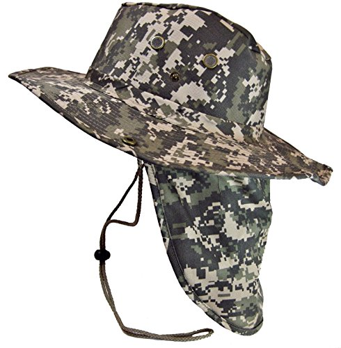 The Hat Jungle boonie Bucket Hat Neck Flap Tactical Wide Brim Outdoor Military ()