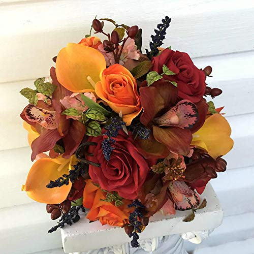 Autumn wedding bouquet - Orange calla lily red rose burgundy orchid fall wedding bouquet for brides and bridal parties