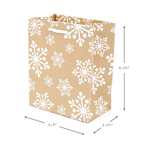 Hallmark 6″ Small Holiday Gift Bag Set (Pack of 5; Red, White and Kraft) Snowflakes, Stripes, Merry