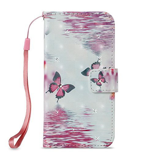 Lotuslnn Samsung S8 plus caja del teléfono, caja de cuero de la PU cubierta de cierre magnético cubierta con Kickstand y ranuras para tarjetas de bolsillo en efectivo para Samsung S8 plus - Big Butter Butterfly pink