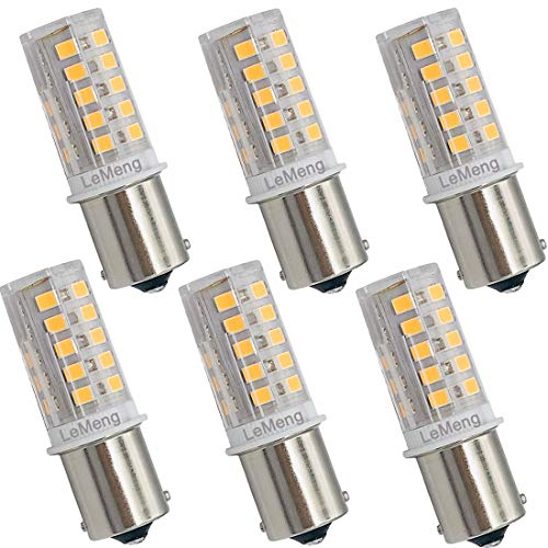 (LeMeng 12V BA15S LED Bulb S8 SC 3W 300Lm 2700K Warm White,DC Bayonet Single Contact Base 1156 1141, AC10-18Volt & DC10-30 Volts, Outdoor Landscape RV Camper Marine Boat Trailer Lighting-6 Pack)