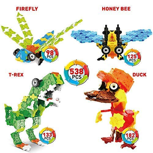 WEofferwhatYOUwant Flatblocks T-Rex, Dinosaur, Firefly, Honey Bee, Duck, and More | 3D Puzzle Toy Building | Figures Level 2 | Collect Them All -
