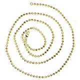 Luxurman 14K Solid Gold 3mm Diamond Moon Cut Ball Chain Bead Necklace Lobster Clasp (yellow-gold, 30'' long)