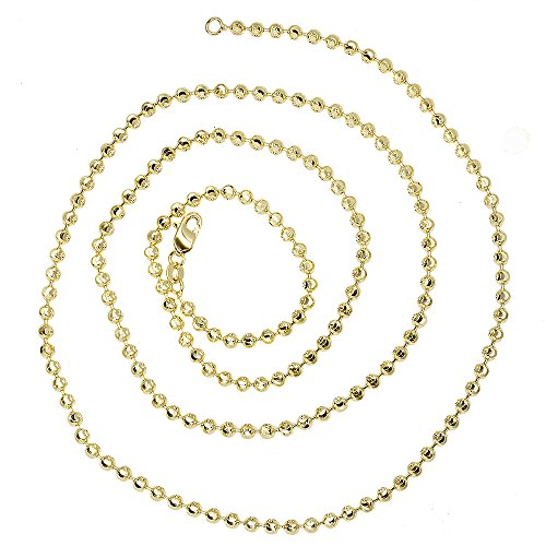 (Luxurman 14K Solid Gold 3mm Diamond Moon Cut Ball Chain Bead Necklace Lobster Clasp (yellow-gold, 30