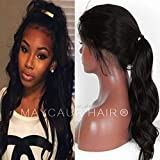 Maycaur Long Body Wave Wig Synthetic Lace Front Wigs With Baby Hair 180 Density Long Wave Synthetic Lace Front Wigs For Black Women (Black Wavy Lace Front)