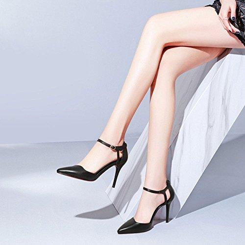 Quatre Robes Femme Talons Talons Chaussures DKFJKI Cuir Pointues Saisons Black Mode Neutres Bretelles à en Hauts zAUwF1q