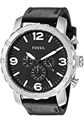 Fossil Men's JR1436 Nate Stainless Steel Watch With Black Leather Band