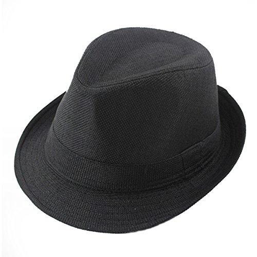 ECYC Children Jazz Hats Kids Solid Color Linen Fedoras Cap]()