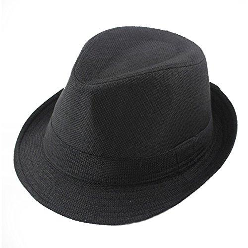 ECYC Children Jazz Hats Kids Solid Color Linen Fedoras Cap -