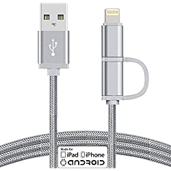 [Apple MFi Certified] TechHutt 2 in 1 Lightning to Micro USB Cable Nylon Braided Data Sync and Rapid Charge Cable Cord For iPhone 6 6s 6Plus iPad Pro Air Mini Samsung Galaxy S7 S6 (2-in-1 Silver 2m)
