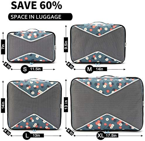Allfourior Travel Packing Cubes 4//5 Set Compression Package Luggage Organizer