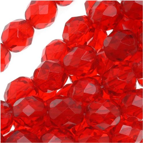 Jablonex 25-Piece Czech Fire Polish Glass Round Beads, 8mm, Ruby Red