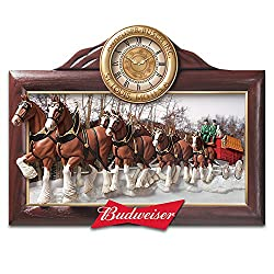 The Bradford Exchange Timeless Tradition Budweiser Clydesdales Wall Clock with Fully Sculpted Horses