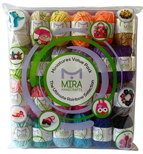 Premium Miniature Value Yarn Pack - 24 Acrylic Yarn Skeins - Assorted Colors - Perfect for Any Crochet and Knitting Mini Project - Resealable Bag - 5 FREE Gifts with Each Pack