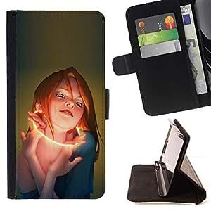 Momo Phone Case / Flip Funda de Cuero Case Cover - Glow Mujer;;;;;;;; - Samsung Galaxy S5 Mini, SM-G800
