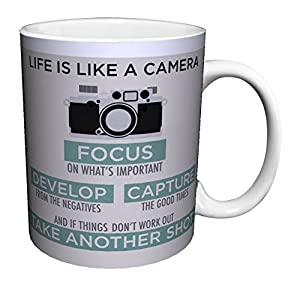 Life is a Camera Inspirational Motivational Photography Quote Ceramic Gift Coffee (Tea, Cocoa) Mug