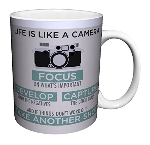 Life is a Camera Inspirational Motivational Photography Quote Ceramic Gift Coffee (Tea, Cocoa) Mug, 11 Ounce