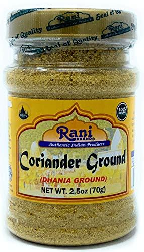 Rani Coriander Ground Powder (Indian Dhania) Spice 2.5oz (70g) PET Jar ~ All Natural, Salt-Free | Vegan | No Colors | Gluten Free Ingredients | NON-GMO | Indian Origin