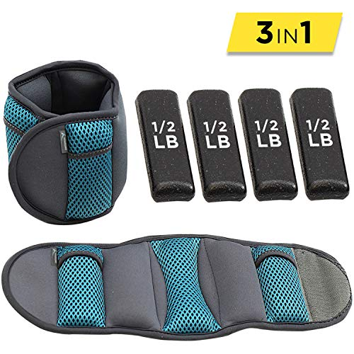 Empower Ankle & Wrist Weights for Women, Soft, Adjustable Weights, Adjustable Strap, Running, Walking, Exercise, Resistance Training, Toning, (1 Pair) 3lb, 5lb, 8lb, 12lb, Teal
