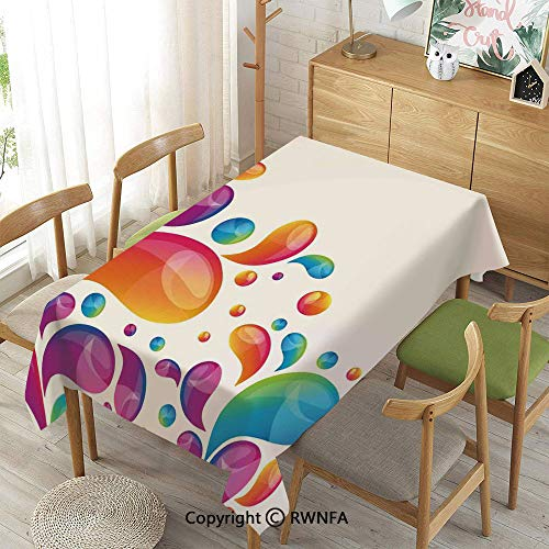 Homenon Decorative Rectangular Table Cloth,Cute Raindrops in Different Size in Gradient Colors Abstract Splash Style,Indoor Outdoor Camping Picnic,Multi,55