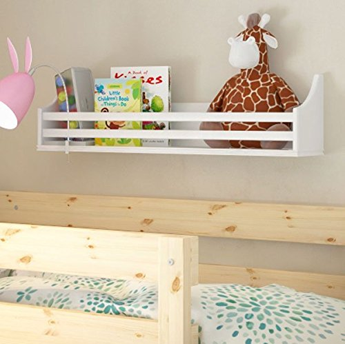 - Wooden Bunk Bed Shelf Bookcase and Bedside Storage for Children's Kids Room (White)