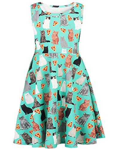 Price comparison product image Funnycokid Grils Print Loose T-Shirt Dress Casual Swing Tunic Top Cute Cat Dress 10-13 T