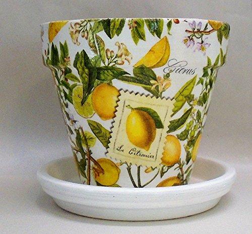 Planter Lemon (Handmade Decoupage Terra Cotta Clay Pot, Lemons, Citrus, 6