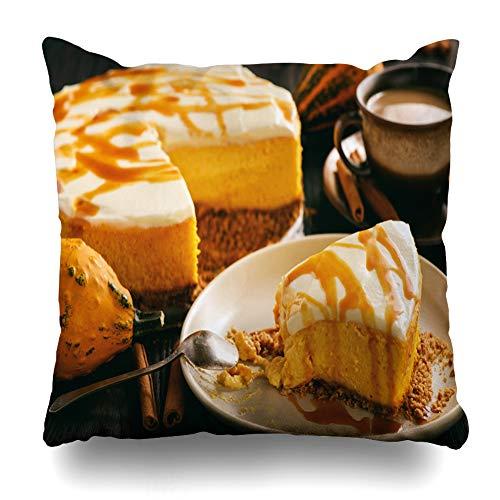 (Suesoso Decorative Pillows Case 18 X 18 Inch Homemade Delicious Pumpkin Cheesecake with Caramel Sauce Throw Pillowcover Cushion Decorative Home Decor Nice Gift Garden Sofa Bed Car)