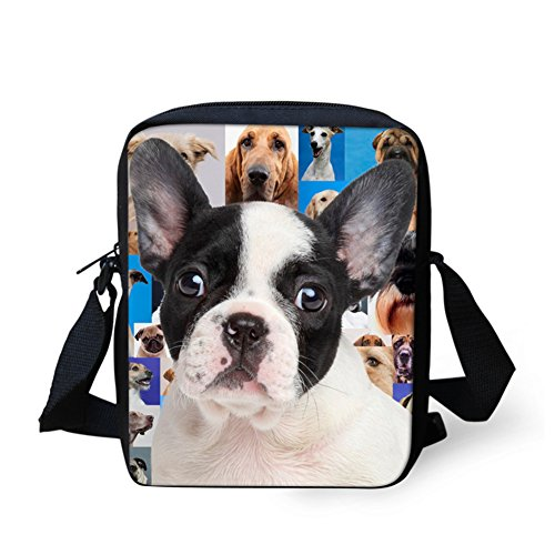 HUGSIDEA Womens Fashion Small Should Messenger Bag Mini Adjustable Crossbody Handbag Kids Satchel (Boston Terrier)
