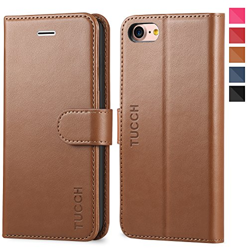 TUCCH iPhone 8 Wallet Case, iPhone 7 Leather Case, Folio Case with [Kickstand] [Card Slots] [Magnetic Closure] Flip Notebook Cover [TPU Shockproof Interior Case] Compatible with iPhone 8/7, Brown
