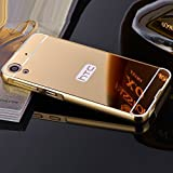 mk mayank enterprisesTM Luxury Metal Bumper + Acrylic Mirror Back Cover Case For HTC DESIRE 628 / 628G /626/626G PLUS GOLD PLATED