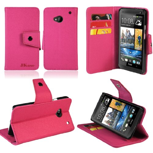 JKase Executive Series Wallet Cover Case with Credit/Business Card Holder for HTC One (M7) (Pink)